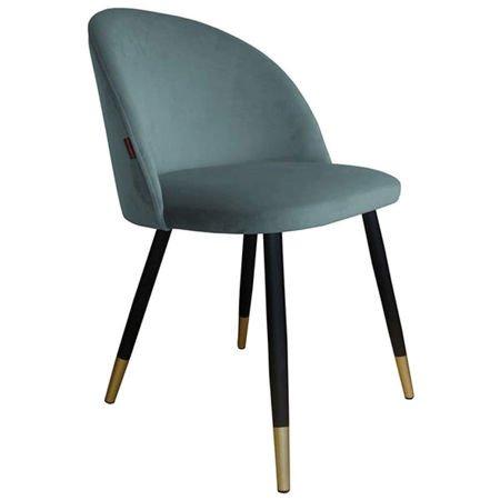 KALIPSO Stuhl blau-grau Material BL-06 mit goldenen Beinen