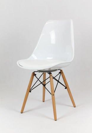 SK Design KR020 Weiss Stuhl mit Holzbeine - Kissen