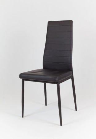 SK Design KS001 Schwarz Kunsleder Stuhl auf einem lackierten Rahmen