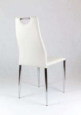SK Design KS005 Weiss Kunsleder Stuhl mit Chromgestell