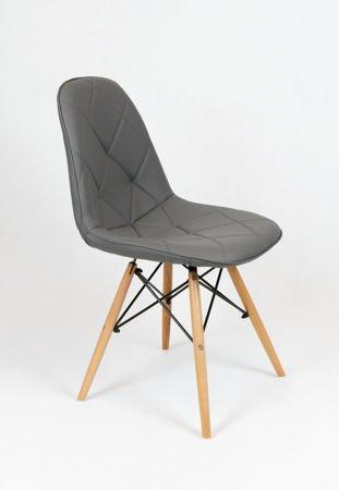 SK Design KS007 Grau Kunsleder Stuhl mit Holzbeine