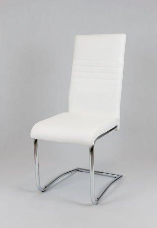 SK DESIGN KS022 WEISS Kunsleder Stuhl mit Chromgestell