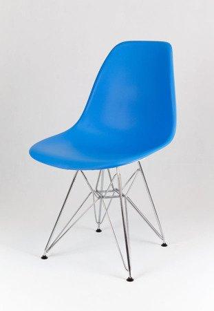 SK Design KR012 Blau Stuhl Chrom