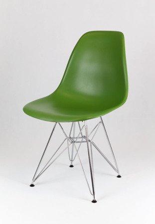 SK Design KR012 Dunkelgrun Stuhl Chrom