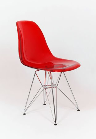 SK Design KR012 Transparent Red Stuhl, Chrom