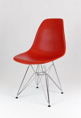 SK Design KR012 Ziegelrot Stuhl Chrome