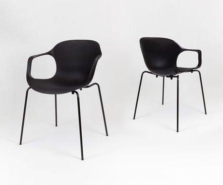 SK Design KR018 Schwarz Stuhl mit Metallgestell
