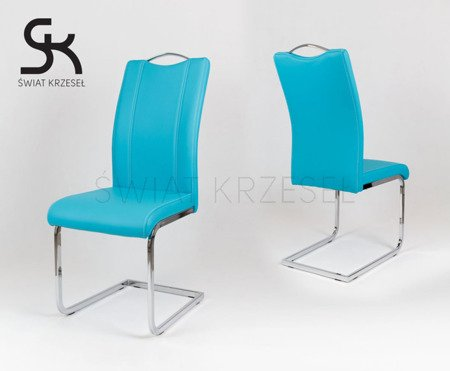 SK Design KS003 Türkis Kunsleder Stuhl mit Chromgestell