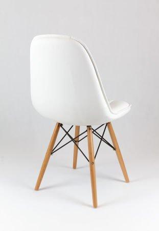 SK Design KS009 Weiss Kunsleder Stuhl mit Holzbeine