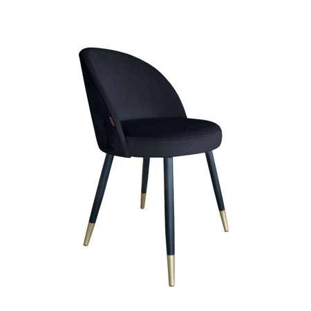 Czarne tapicerowane krzesło CENTAUR materiał MG-19 ze złotą nóżką