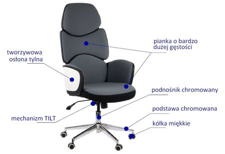 Fotel obrotowy AMBON BIAŁY/SZARY/CZARNY