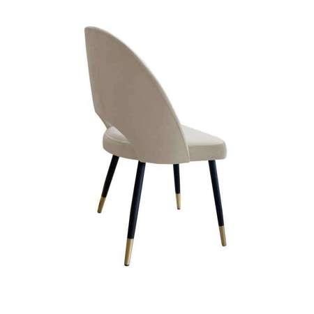 Jasnobrązowe tapicerowane krzesło LUNA materiał MG-09 ze złotą nóżką