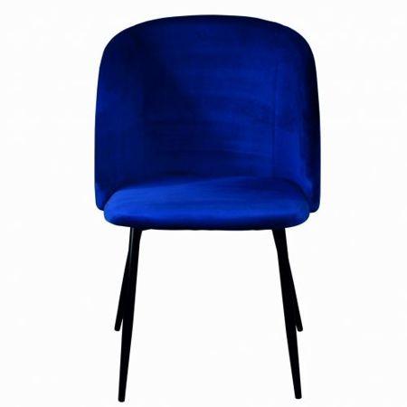 Niebieskie tapicerowane krzesło fotel GLORIA nogi czarne