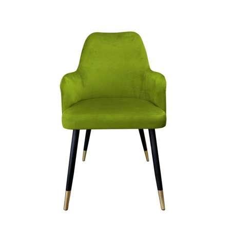 Oliwkowe tapicerowane krzesło PEGAZ materiał BL-75 ze złotą nóżką