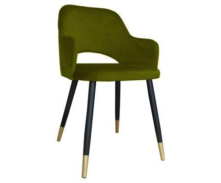 Oliwkowe tapicerowane krzesło STAR materiał BL-75 ze złotą nóżką