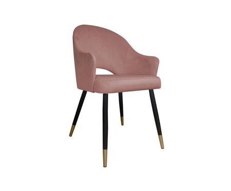 Różowe tapicerowane krzesło DIUNA materiał MG-58 koralowe ze złotymi nóżkami