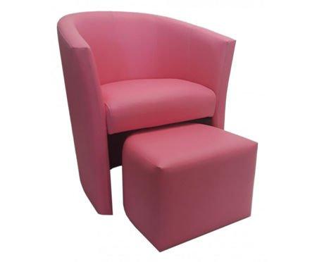 Różowy fotel CAMPARI z podnóżkiem