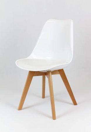SK Design KR020 Białe Krzesło Drewniane Nogi