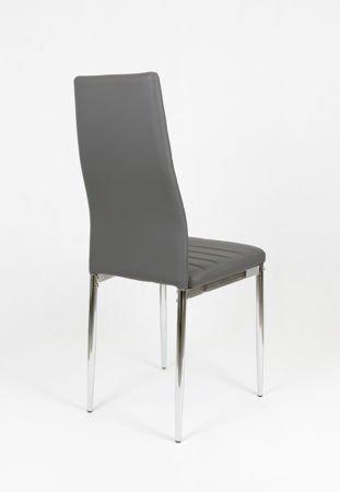 SK DESIGN KS001 Ciemnoszare Krzesło z Eko-skóry, Chromowane nogi