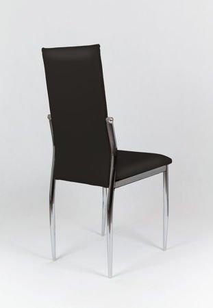 SK Design KS004 Czarne Krzesło z Ekoskóry na Stelażu Chromowanym