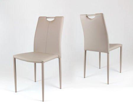 SK Design KS006 Beżowe Krzesło z Ekoskóry na Metalowym Obszytym Stelażu