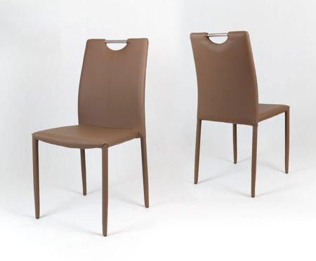 SK Design KS006 Brązowe Krzesło z Ekoskóry na Metalowym Obszytym Stelażu