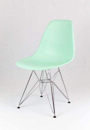 SK Design KR012 Pistacjowe / Miętowe Krzesło, Chromowane nogi