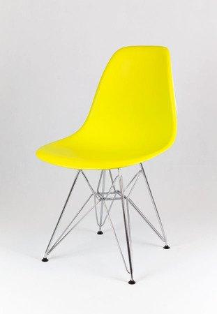 SK Design KR012 Żółte Krzesło, Chromowane nogi