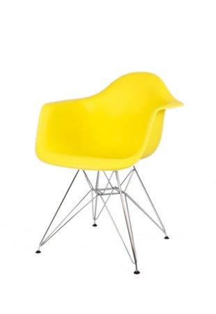 SK Design KR012F Żółty Fotel Chrom