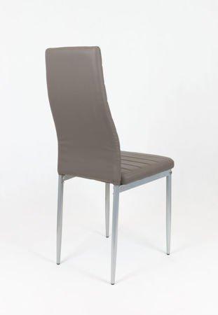 SK Design KS001 Szaro-brązowe Krzesło z Eko-skóry, Szare nogi