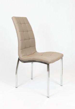 SK Design KS002 Beżowe Pikowane Krzesło z Ekoskóry Chrom Stelaż