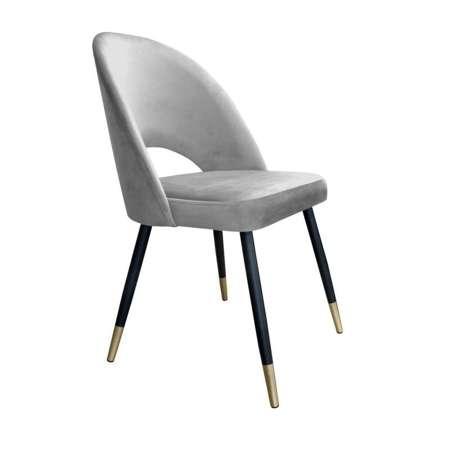 Szare tapicerowane krzesło LUNA materiał MG-17 ze złotą nóżką