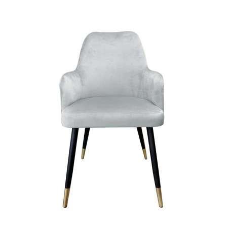 Szare tapicerowane krzesło PEGAZ materiał MG-17 ze złotą nóżką