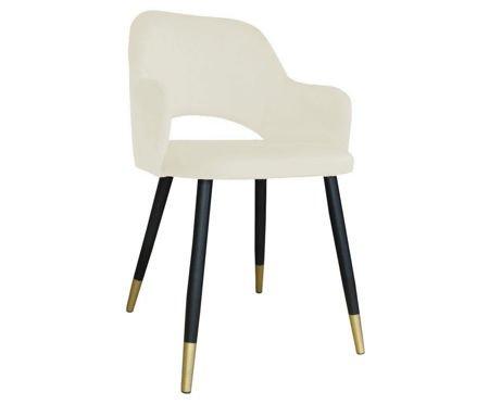Tapicerowane krzesło STAR w kolorze kości słoniowej materiał MG-50 ze złotą nóżką