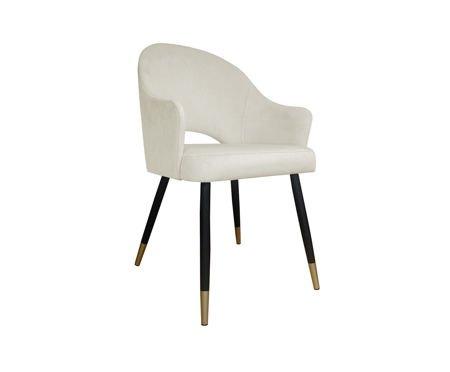 Tapicerowane krzesło fotel DIUNA w kolorze kości słoniowej materiał MG-50 ze złotymi nóżkami